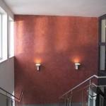 Malermeister Jens Meyer: Stirnwand von einem Treppenhaus mit einer Spachteltechnik